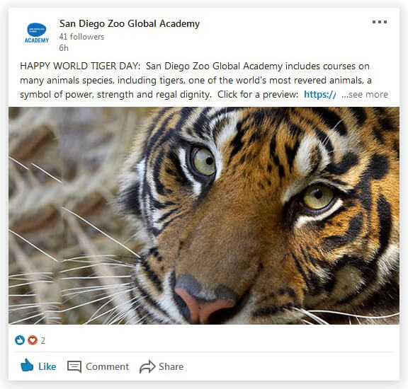 San Diego Zoo Global Academy LinkedIn post